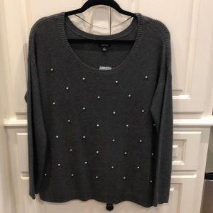 NEW Apt 9 Dark Gray w/ Clear rhinestone sweater